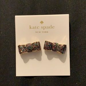 NWT Kate Spade glitter bow earrings!